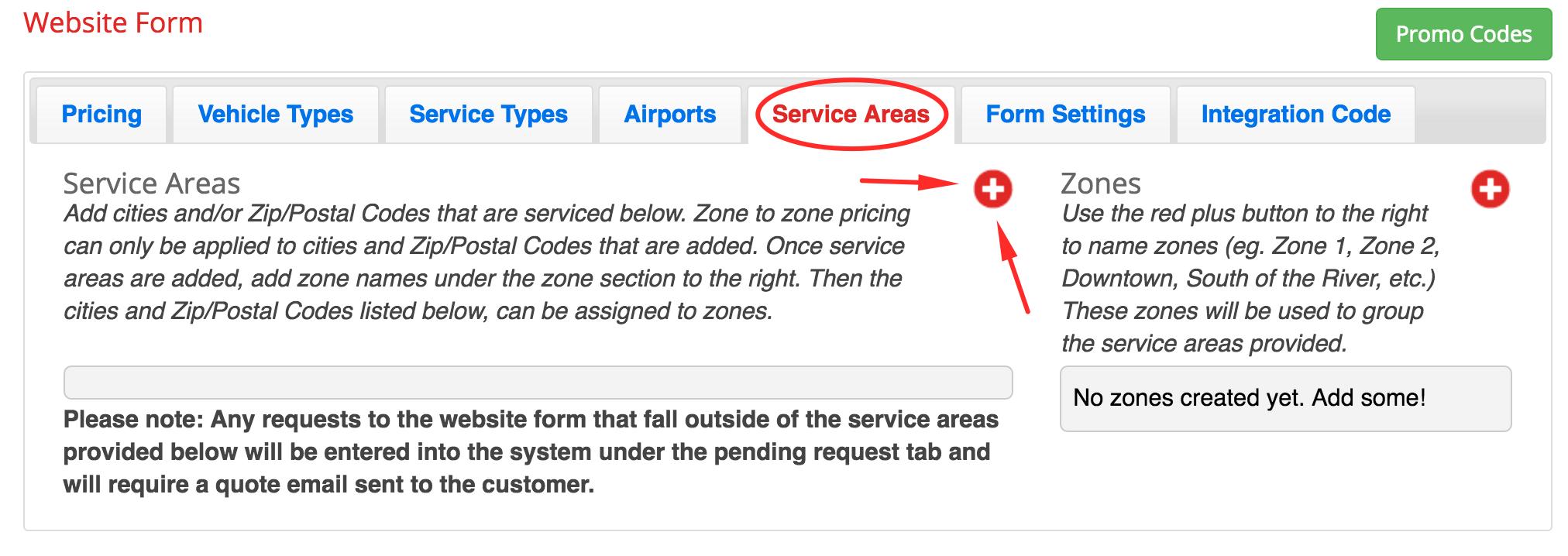 Step  Adding Service Areas  Zones  Book Rides Online Support - Us zip codes plus 4